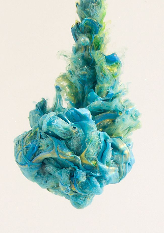 Chris Slabber... pigmented ink and paint falling through water, high-speed photography, digital manipulation.