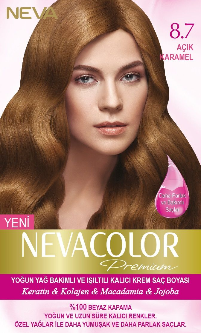 Nevacolor Premium Kalici Krem Sac Boyasi Seti 8 7 Acik Karamel