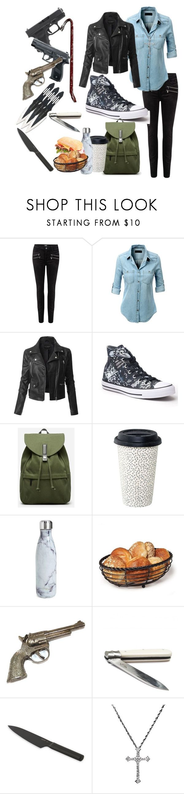 """Zombie Apocalypse Survival Set (contest entry)"" by microwavelord ❤ liked on Polyvore featuring Paige Denim, LE3NO, Converse, Everlane, S'well and BergHOFF"