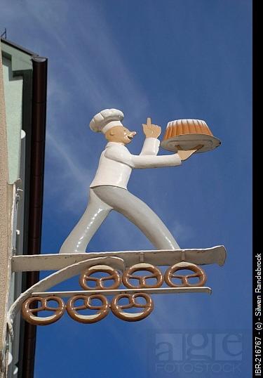 Bakery signpost Esslingen at the Neckar Baden Wuerttemberg Germany