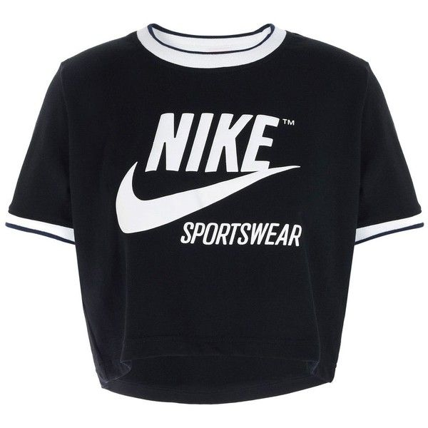 Nike T-shirt (573.680 IDR) ❤ liked on Polyvore featuring tops, t-shirts, black, jersey t shirt, cotton tees, pattern t shirt, short sleeve tops and jersey top