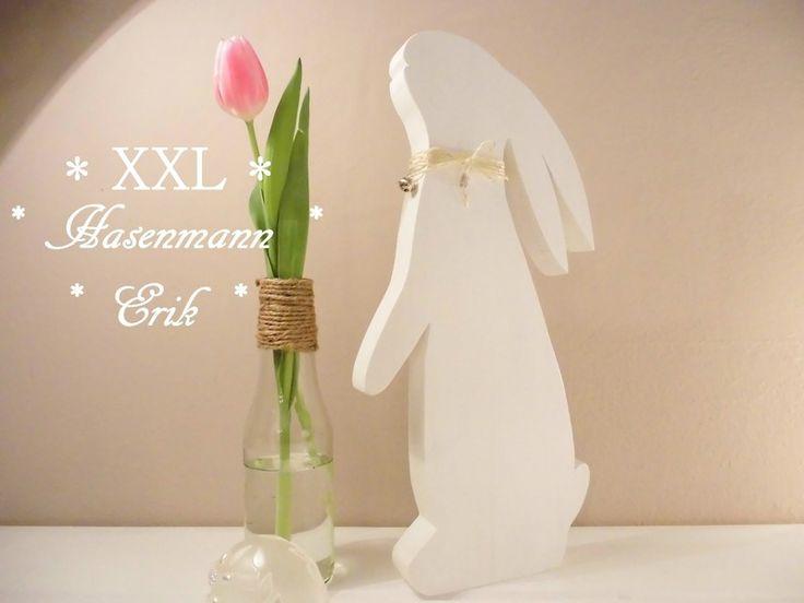 XXL Hasenmann ♥Erik♥ 41 cm hoch Holzhase von Silvi K. auf DaWanda.com