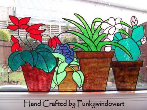 Flower Pots Window Border Style 1 Static Window Cling hand painted flower pots static window clings window art stained glass effects suncatchers decals window designs [] - £11.50 : Funky Window Art!, Window clings, suncatchers, stained glass effects