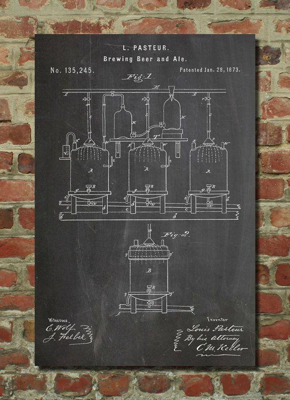 Brewing Beer & Ale Poster Beer Poster Vintage Beer by PatentPrints