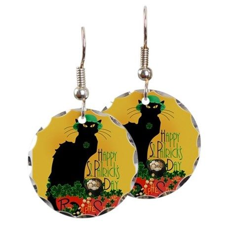 Le Chat Noir #StPatricksDay Earrings by #Gravityx9 at #Cafepress ~ Check out the variety of gifts and accessories for your #StPattysDay night out!   ~ #spoofingthearts #irish #lechatnoir #stpatricksdayjewelry #lechatnoirjewelry #stpatricksdaycat #irish #luckoftheirish #fourleafclover #4leafclover #potofgold