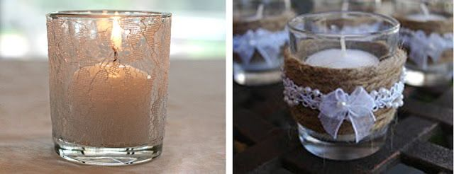 DIY (Faça você mesmo): Vasos ou potes de vidro com renda e Inspirações!