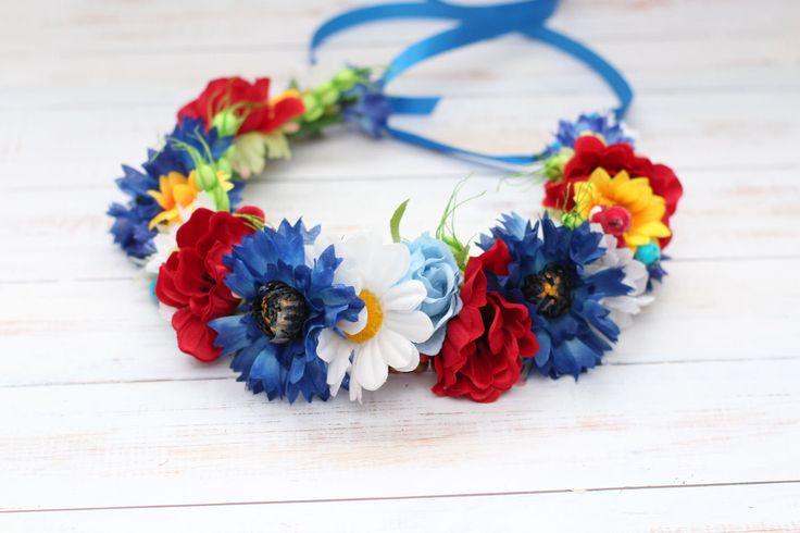Floral wreath Colorful flower wreath Meadowy wreath spring Wedding flower crown flower hair wreath rustic halo flower Cornflower camomile by forBridal on Etsy