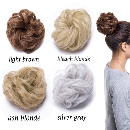 S-noilite Synthetic Hair Bun Extensions Messy Hair Scrunchies Hair Pieces for Women Hair Donut Updo Ponytail ash blonde,40g - Walmart.com