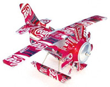 DIY Soda Can Seaplane Craft Pattern. We don't drink soda, but could still get some to make this for my son, I'm sure he would love it.
