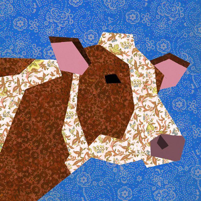 Cow paper pieced quilt block pattern PDF. $2.90, via Etsy.