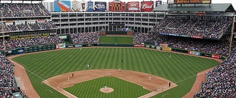 There's just something about baseball field that I absolutely LOVE! Bonus: this is the Texas Rangers Stadium :D