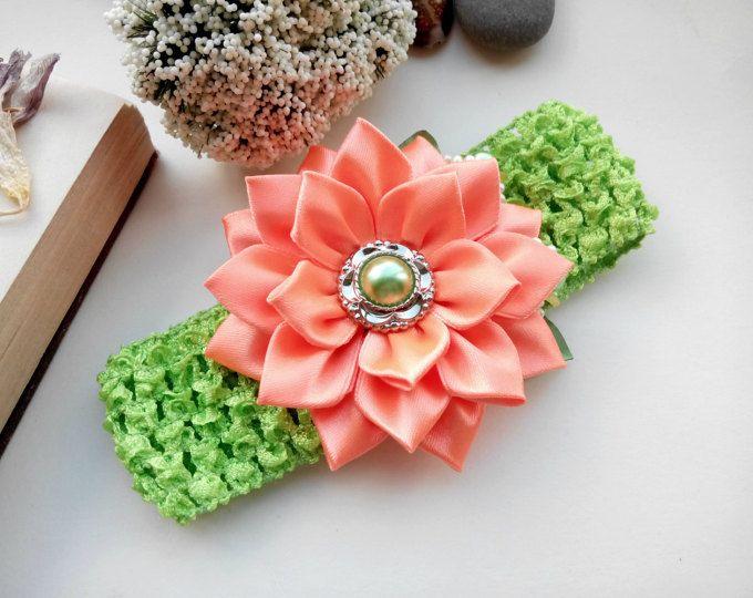 Baby Girl Headband/ Flower Head Band/ Baby Girl Hair Accessory/ Kanzashi fabric flowers/ Orange Headband/Kanzashi Headband