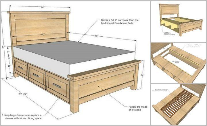 Diy Farmhouse Storage Bed With Storage Drawers Diy Wood Bed