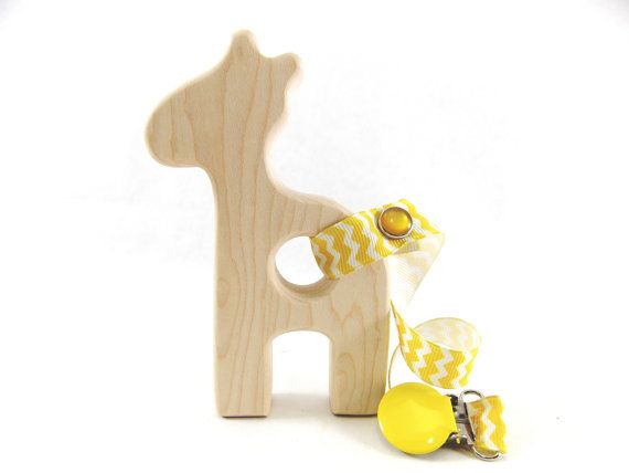 Organic Wooden Baby Teether - GIRAFFE Teether- Natural Maple Wood Teether