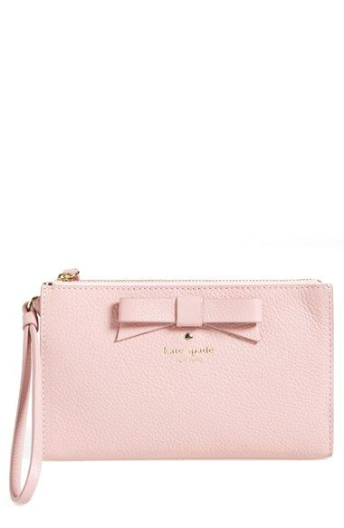 kate spade new york 'north court - bow leyna' pebbled leather wristlet clutch (Nordstrom Exclusive) available at #Nordstrom