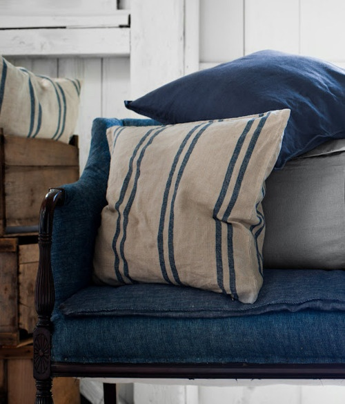 Denim looks fabulous on formal pieces!  Love the ticked pillows!