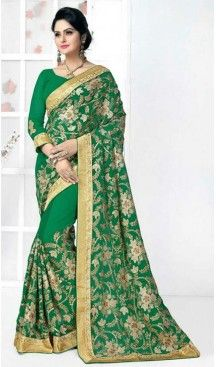 Georgette Fabric Party Wear Saree in Chrome Green Color | FH526279574 #party , #wear, #saree, #saris, #indian, #festive, #fashion, #online, #shopping, #designer, #usa, #henna, #boutique, #heenastyle, #style, #traditional, #wedding, #bridel, #casual, @heenastyle , #blouse, #prestiched, #readymade, #stitched , #Georgette , #embroidery