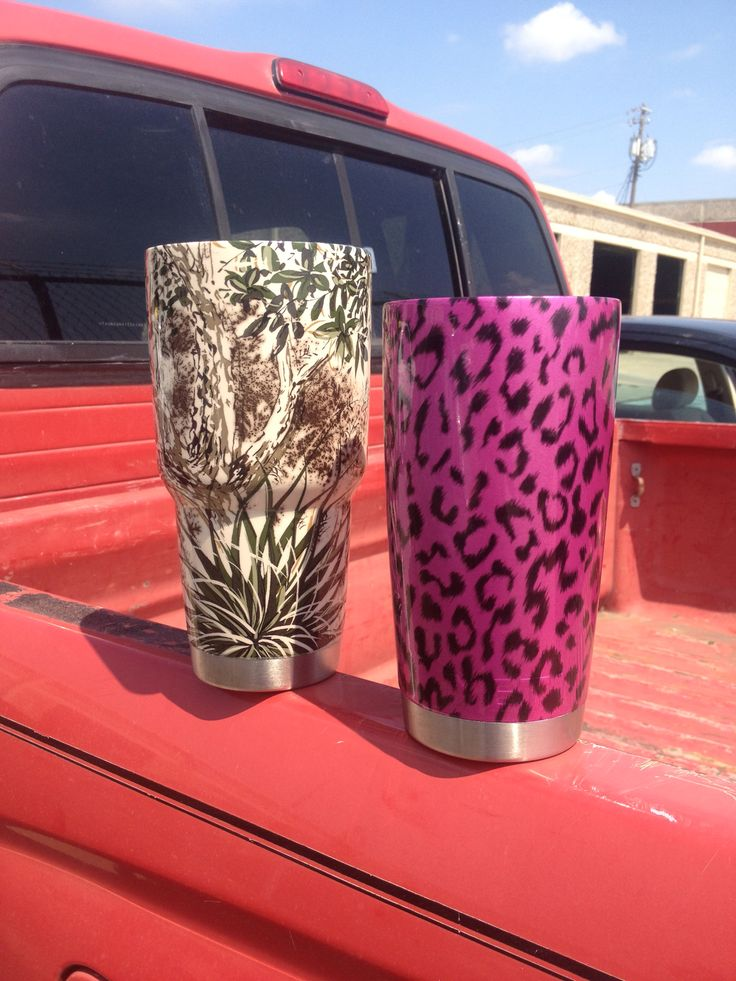 """Dipped Yeti Cup Cactus >> 30 oz Yeti Rambler hydrographed in """"Game Guard"""" 20 oz Yeti hydrographed in """"Clear Leopard"""" with ..."""