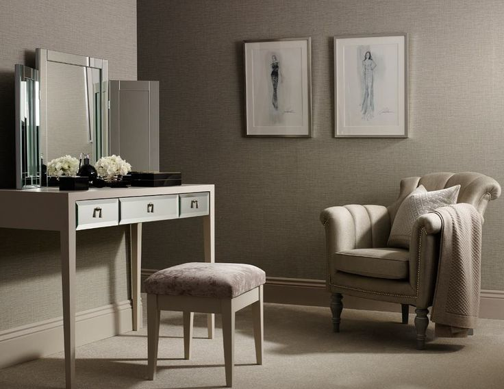 Timeless and elegant the Walton dressing table is impeccably crafted by fine British furniture makers with mirrored panels and tapering legs.     #LuxDeco #interiordesign #luxuryinteriors #interiorinspiration #dressingroominspo #british #furniture #luxuryfurniture #neutral #homedecor
