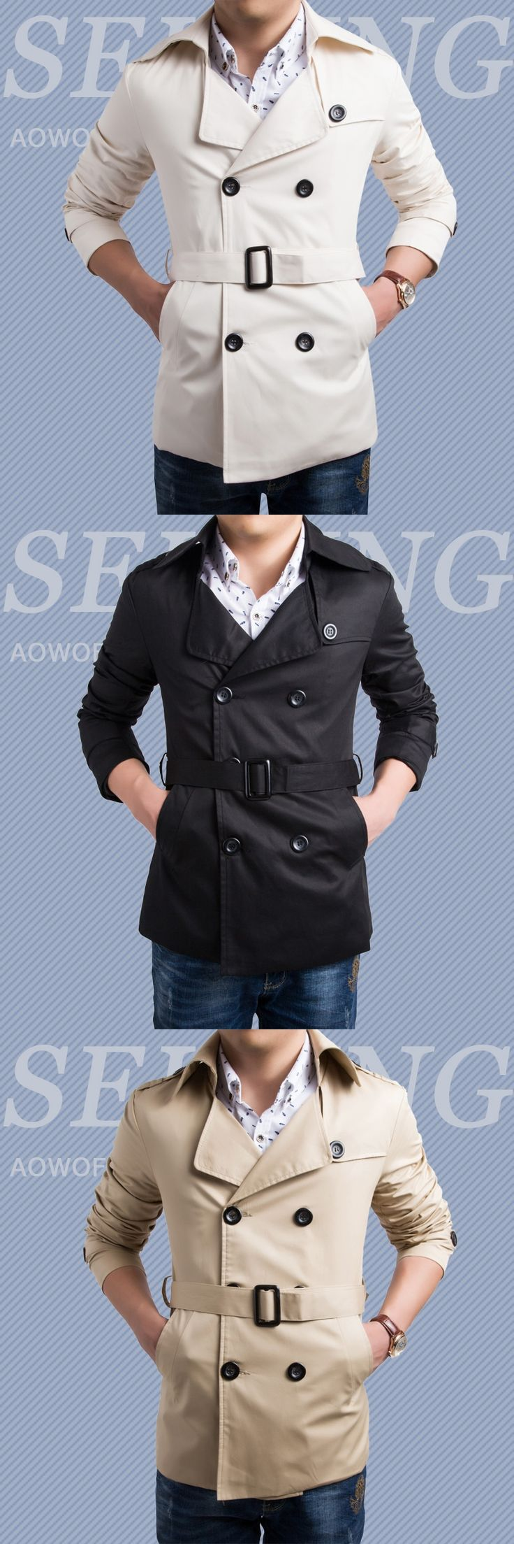Men's Classic Elegant Trench Coat Button Double Breasted Male Windbreaker Cotton Slim Fit Casual Manteau Homme Outwear