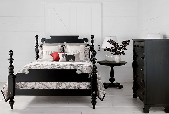 look the black furniture and everything else white! love the bedding. perfection.