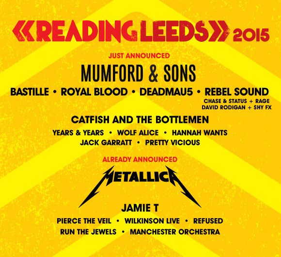 Reading and Leeds Festival Headline Acts 2015, over the last weekend of August. Tickets are on general Sale Now at TicketReleases.com.