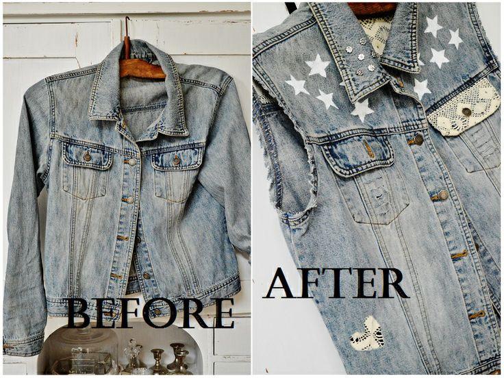 Denim jacket refashioned into a denim vest