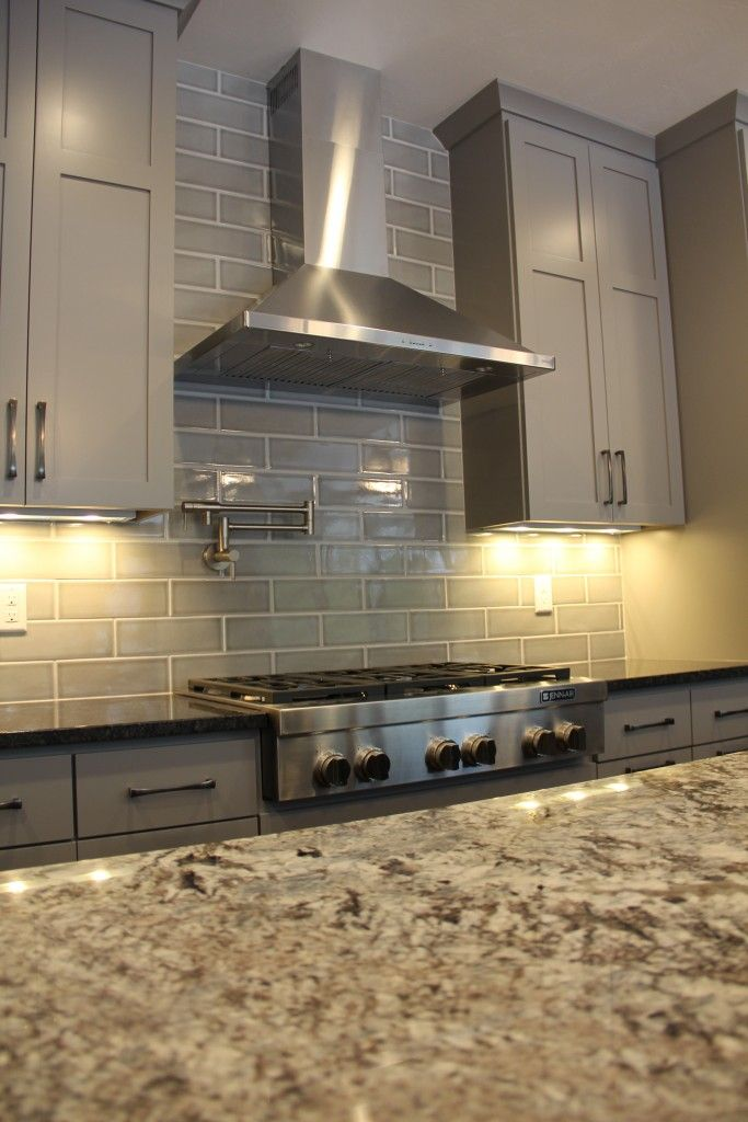 Gray Kitchen Cabinets With White Subway Tile