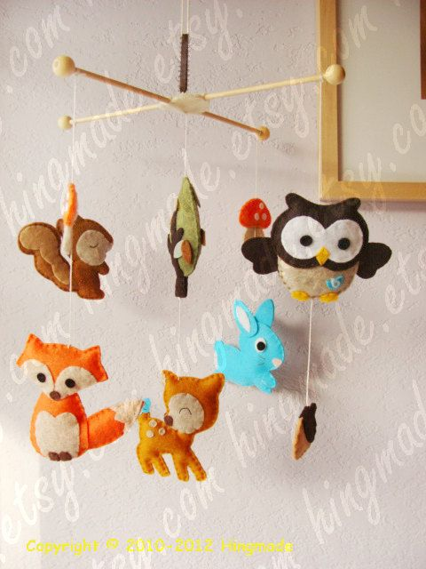 Baby Mobile - Modern Mobile - Ceiling Hanging Mobile - Woodland Deer Fox Owl Bunny Forest Friends Animals (U can pick your colors). $100.00, via Etsy.