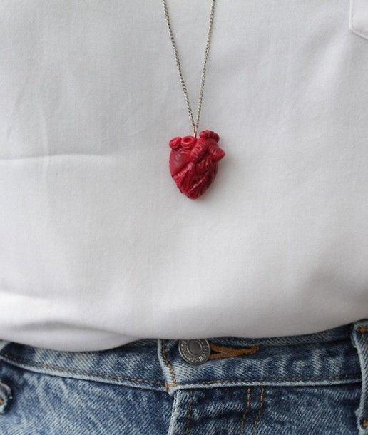 jewels heart red white jeans chain necklace pendant