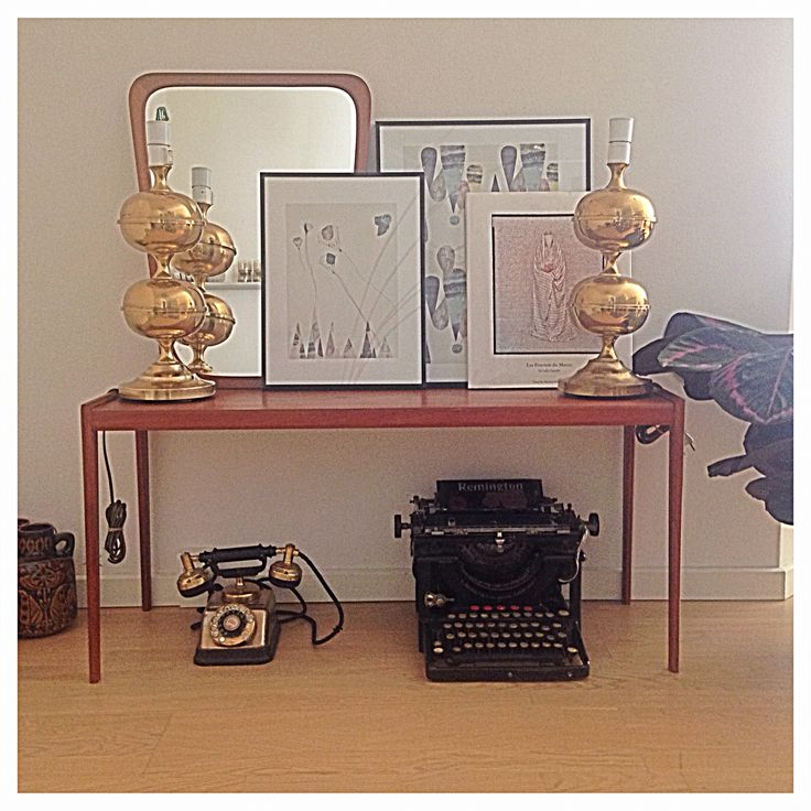 My latest flea market finds, antique typewriter, a vintage telephone and a teak furniture (low/side table)
