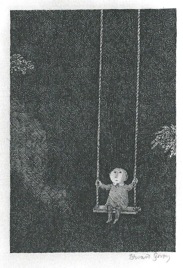 Edward Gorey's 1974 Graham Gallery Exhibition - Child on swing