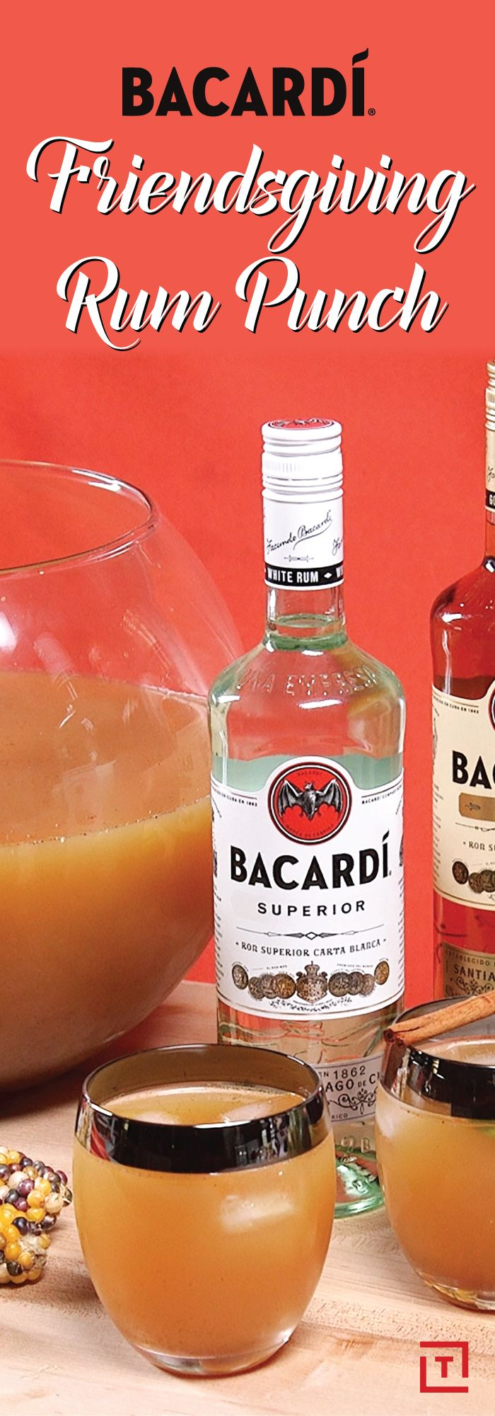 It's getting really cold outside, and you've gathered a bunch of your pals over for Friendsgiving. And sure, you're all going to be stuffed after a while, so you'll need a drink that can double as a dessert (sort of). This BACARDI Friendsgiving Rum Punch will definitely do the trick: mixing tart lemonade and apple cider, cinnamon, and two kinds of BACARDI rum, it's bound to be a new holiday favorite.