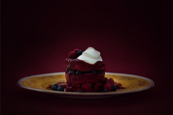 """Summer Pudding with Bloodberry Coulis"" - lightjet photograph by Jonathan Cameron"