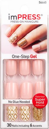imPRESS Press-on Manicure Pink Design Glitter Accent Nails