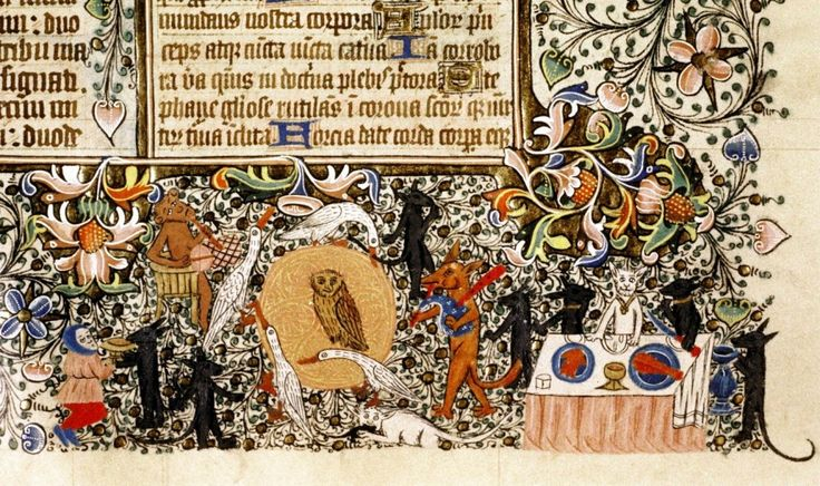 Banchetto bestiale - Miniatura tratta da Messale (metà XV secolo), Bodleian Library, Oxford. Nell'immagine si riconoscono: una volpe con cornamusa e una scimmia con tamburo accanto a un cerchio di oche danzanti intorno a una civetta; un gatto bianco che mangia un topo; un altro gatto bianco seduto a tavola con piatti di pesce.