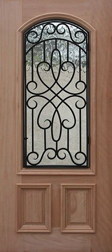 2/3 Arch Wrought Iron Grille Mahogany Wood Door Slab #A623FA