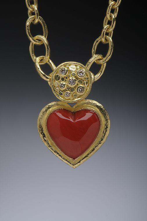 Coral, 18k Gold and Diamond Heart Pendant Hughes-Bosca Jewelry | Pendants & Brooches