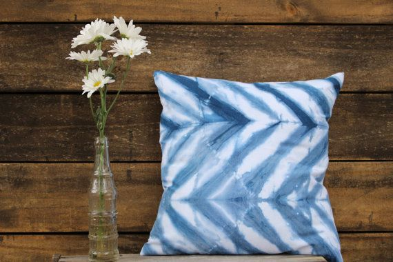 Have an old pillow that needs a new look?  -16 homemade pillow cover -100% cotton -Hand dyed with natural indigo -Prewashed and ready to ship *ALL