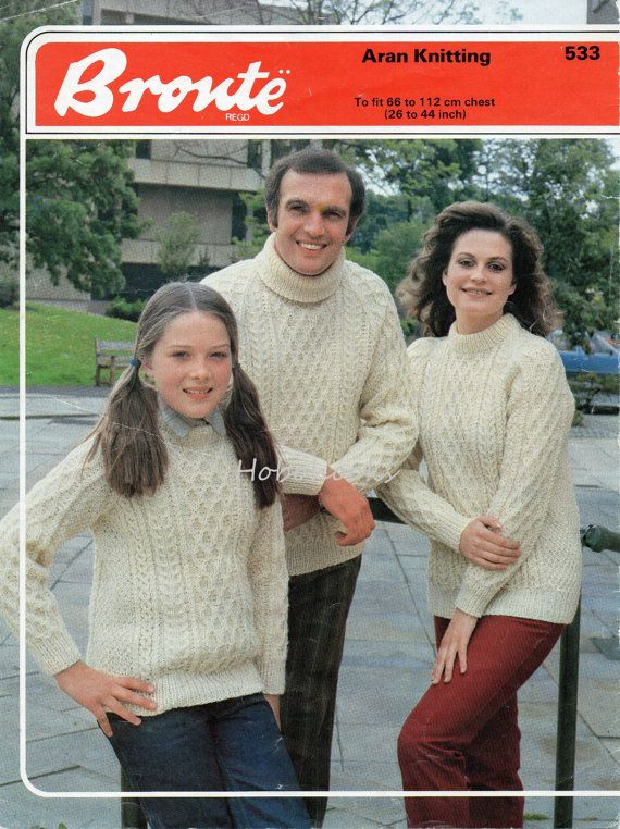 U7020 Womens Aran Sweaters Mens Aran Sweaters Childrens Aran Sweaters Crew Neck Polo Neck Aran Jumpers Unisex 26-44inch Aran Knitting Patterns PDF PLEASE NOTE PATTERNS ARE VINTAGE AND IN ENGLISH ONLY Please refer to the pictures above for information from pattern on sizes, materials used, needle size etc. Click on the white arrow half way up the picture on the right side. Where a discontinued yarn is used, I check the needle size for a modern equivalent and include in the description…