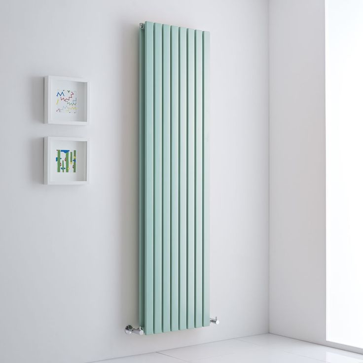 Tall mint green vertical radiator - a whole new way of heating your home.