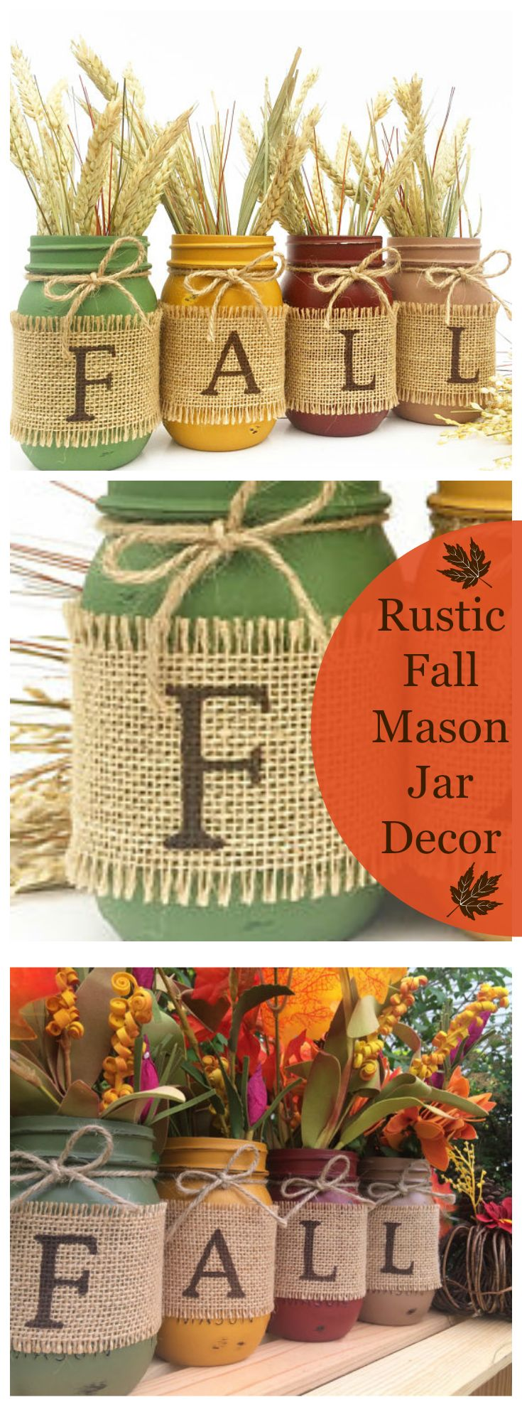 Gorgeous Rustic Autumn Decorative Set of Hand Painted Ball Mason Jars. Wrapped in burlap. Set includes 4 pint size (16 oz.) jars. Add the warmth of fall to any decorative setting. #Fall #masonjar #affiliate
