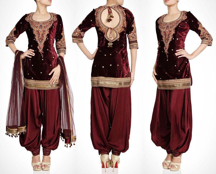 Blood Maroon Velvet Salwar kameez http://panachehautecouture.co.in/products/blood-maroon-velvet-salwar-kameez