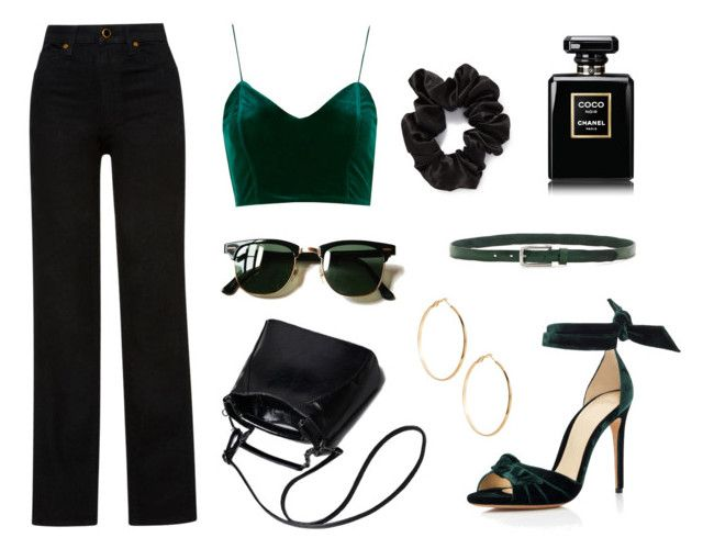 """Untitled #47"" by line00 on Polyvore featuring GUESS by Marciano, Khaite, L. Erickson, Ray-Ban, Liebeskind, Alexandre Birman, black, GREEN, Chanel and velvet"