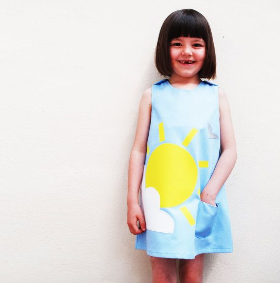 Girls dress handmade with summer sunshine and by wildthingsdresses