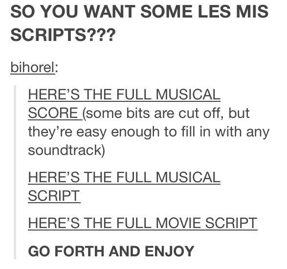 Les Misérables score, musical script, and movie script