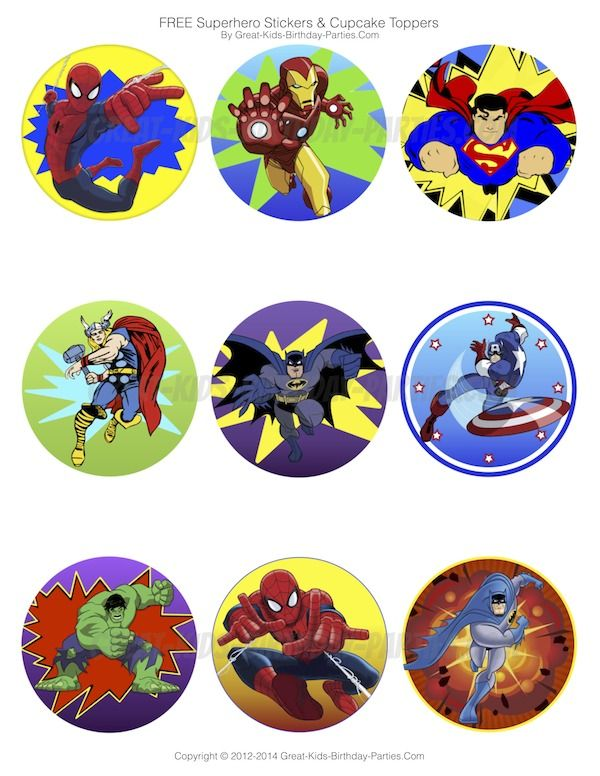Superhero Stickers or cup cake toppers