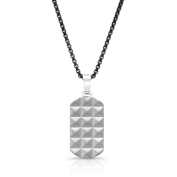 Men's Room101 Punk Dog Tag Necklace (£66) ❤ liked on Polyvore featuring men's fashion, men's jewelry, men's necklaces, silver, mens chain link necklace, mens dog tag necklace, mens cuban link chain, mens watches jewelry and mens silver necklace