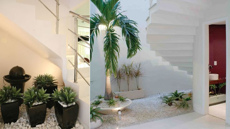 Um jardim de inverno também é uma forma interessante de aproveitar o espaço embaixo da escada.