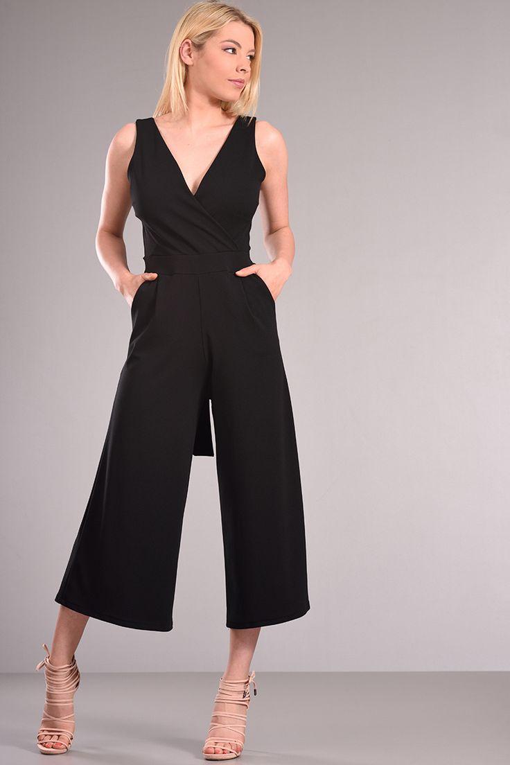 Ολόσωμες Φόρμες | Ολόσωμη φόρμα ζιπ κιλότ μαύρη